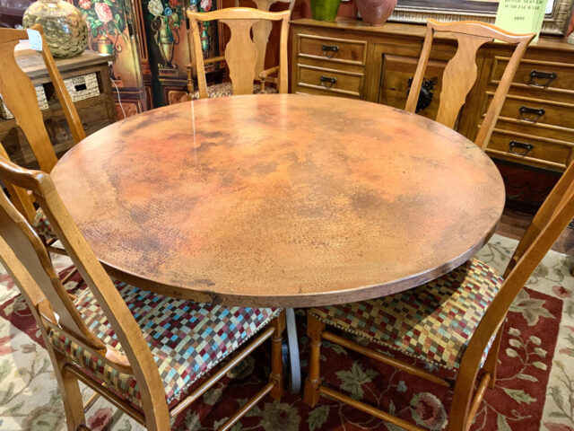 """60"""" Hand Hammered Copper Dining Table"""
