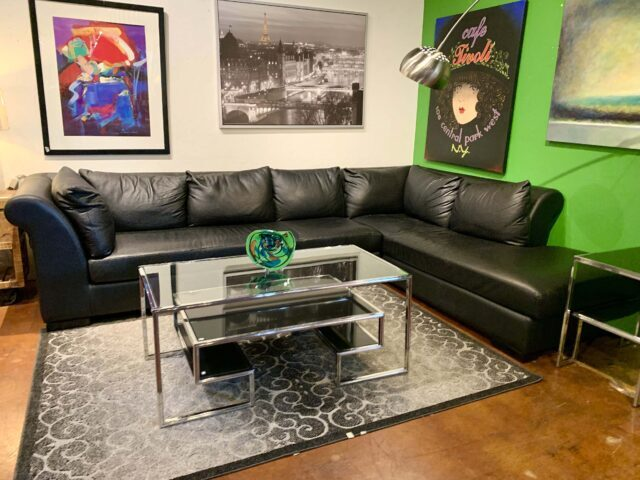 Black Leather 2 Piece Sectional