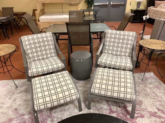 Brown Jordan Chairs with Ottomans & End Table