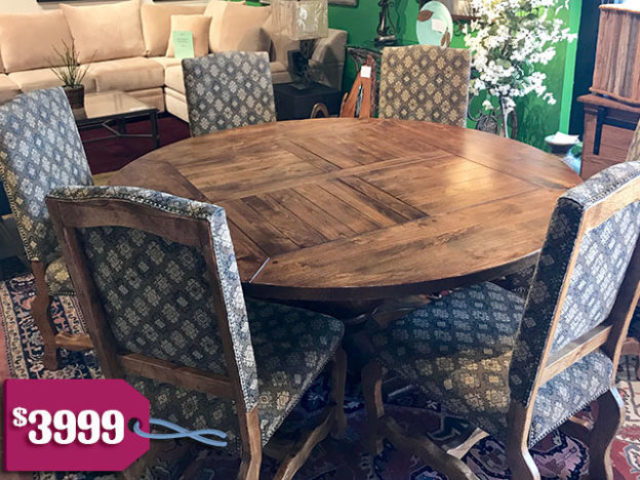 Lorts Dining Table with 6 Upholstered Chairs