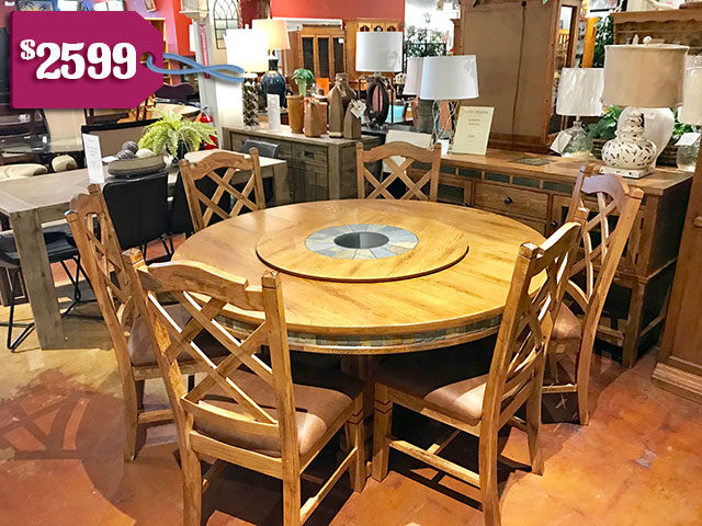 Sunny Designs 60 in. Round Table with 6 Chairs