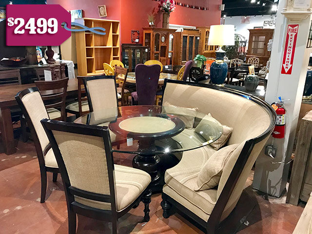 Horchow Table with Banquette & 4 Chairs