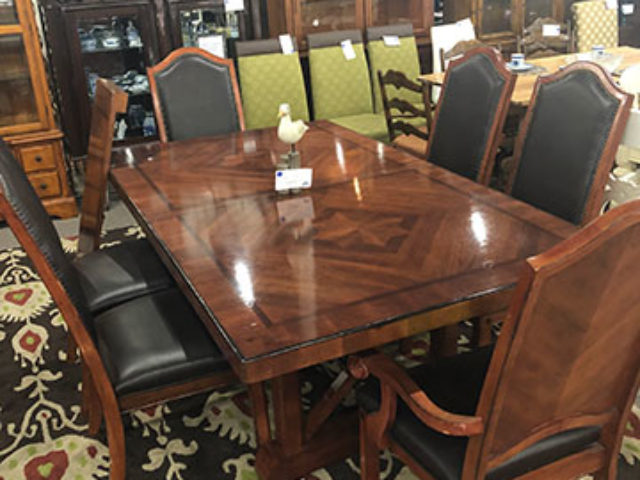 Hardwood Table with 6 Cushion Back Chairs