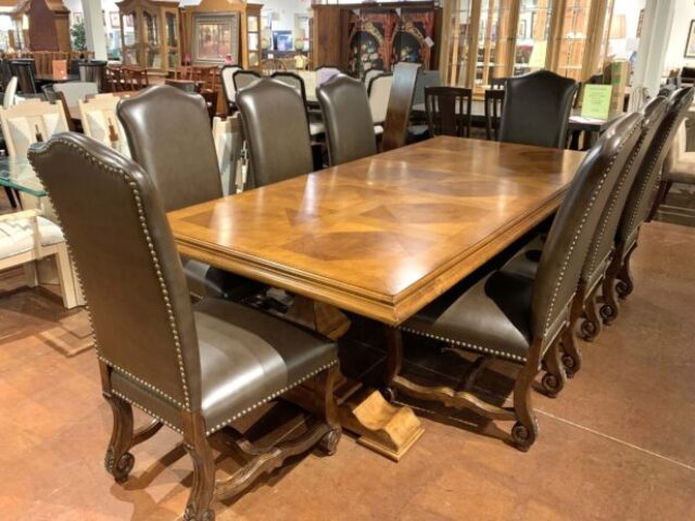 Stanley Dining Table with 8 Chairs, 2 Leaves & Pads