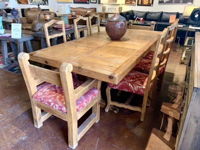 Rustic Dining Table with 6 Chairs
