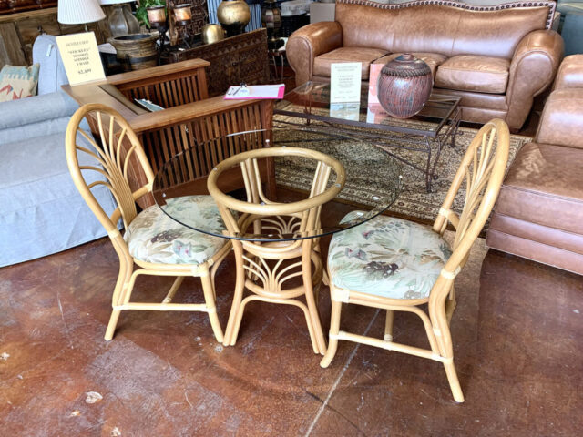 King's Rattan Table with 2 Chairs