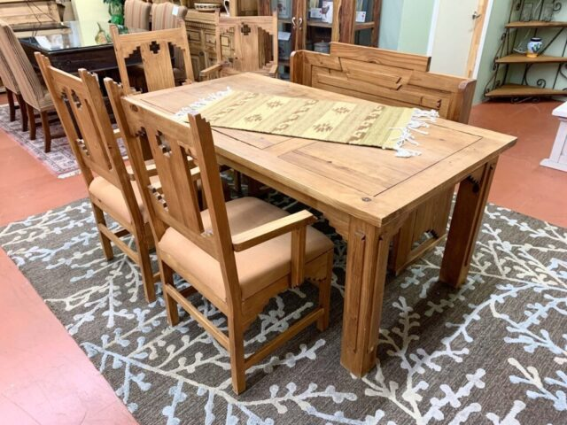 Rustic Table with 4 Chairs and Bench