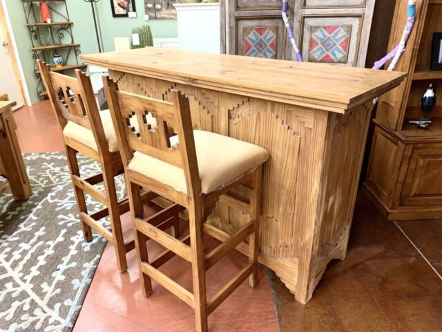 Rustic Bar with 2 Stools
