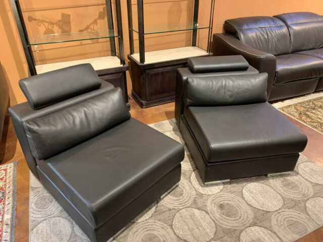 Modern Leather Armless Chairs