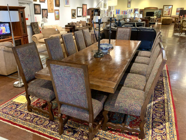 Rustic Dining Table with 12 Chairs