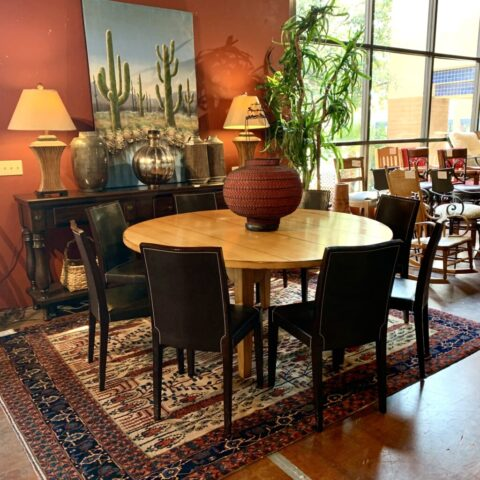 Drexel Table with 8 Black Chairs