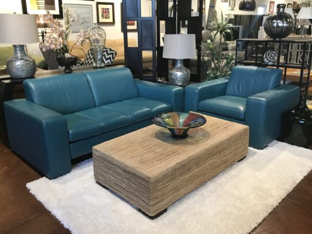 Natazzi Leather Loveseat & Chair