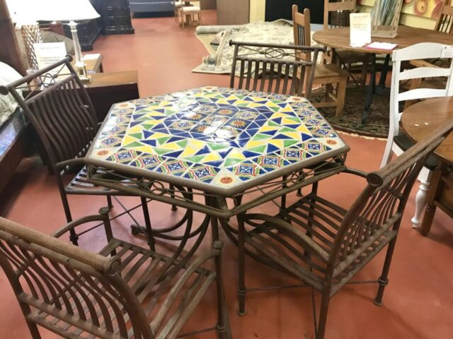 Tile Top Patio Table With 4 Chairs