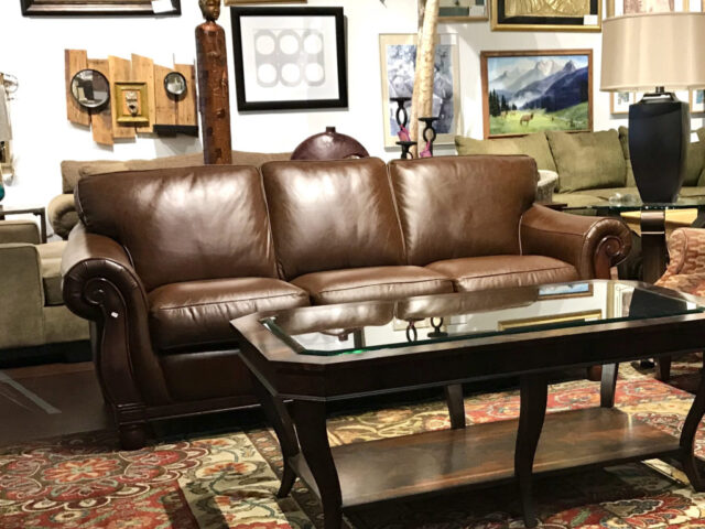 Chris Madden Leather Sofa