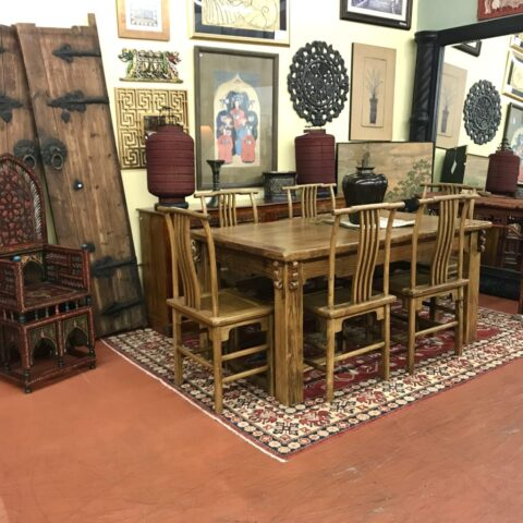 Rustic Asian Table with 6 Chairs