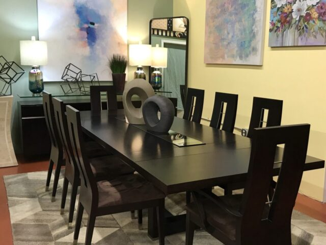 Modern Table with 10 Chairs & 2 Leaves