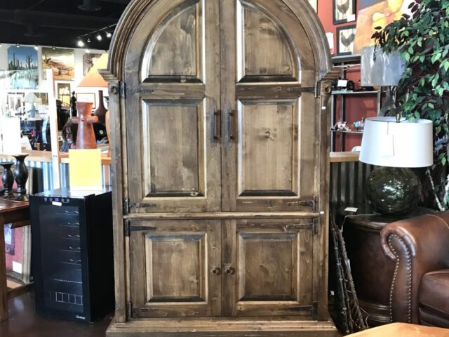 Rustic Armoire with Curved Top