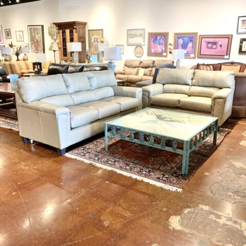 Simmons Leather Sofa & Loveseat