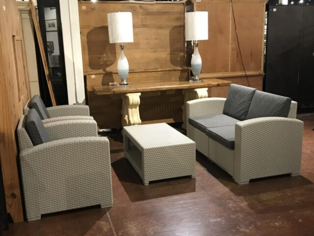 Patio Loveseat with 2 Chairs & Table