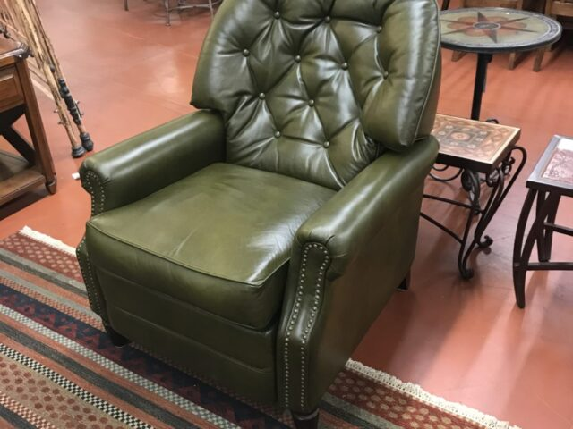 Olive Leather Recliner with Nailheads