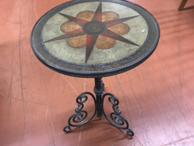 Leather Star Accent Table