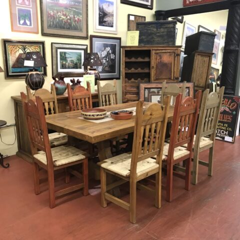 Rustic Table with Tile & 8 Chairs