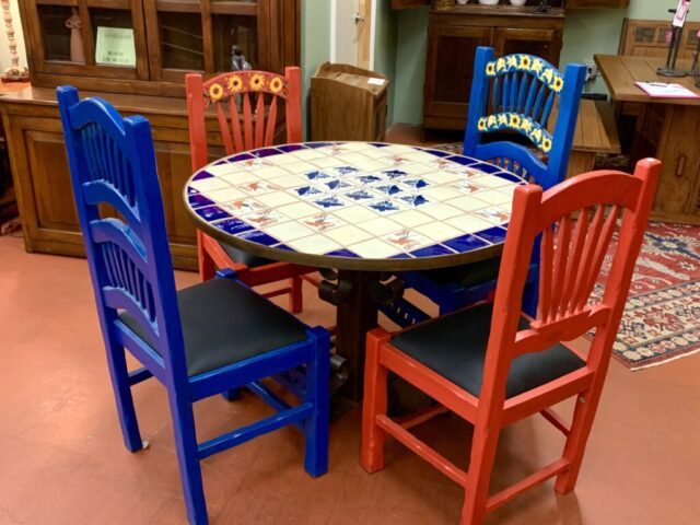 Tile Top Table with 4 Painted Chairs