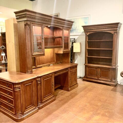 Desk with Hutch, Bookcase & File Cabinet