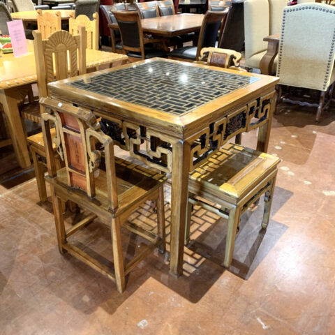 Asian Table with 2 Chairs / 2 Benches