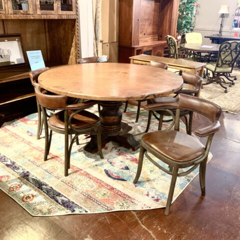 Copper Table with 6 Restoration Hardware Chairs