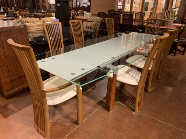 Glass Top Table with 8 Chairs